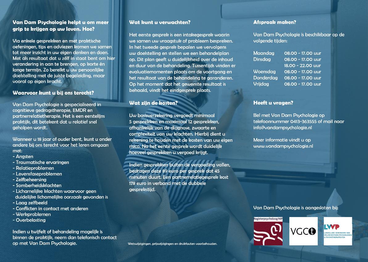 Creativv |Voorbeeld grafisch vormgeving folder Van Dam Psychologie: Logo, huisstijl, brochures, visitekaartjes, flyers en online banners ontwerpen