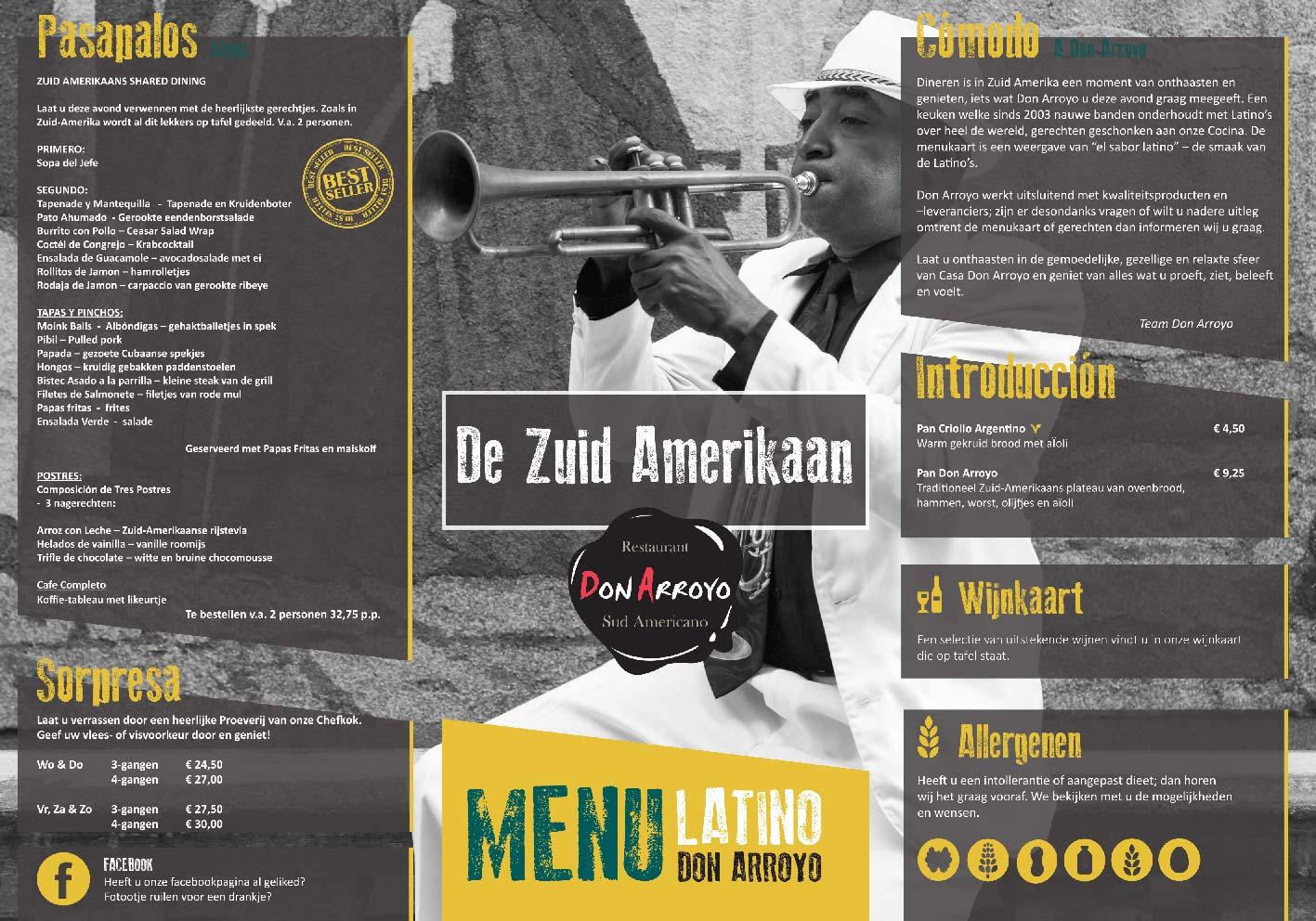 Creativv |Voorbeeld grafisch vormgeving menukaart restaurant Don Arroyo: Logo, huisstijl, brochures, visitekaartjes, flyers en online banners ontwerpen