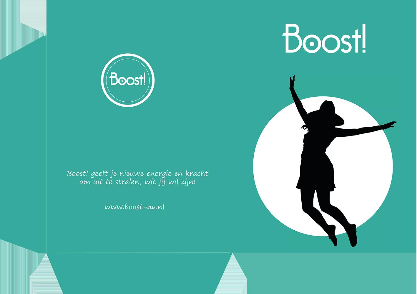 Creativv |Voorbeeld grafisch vormgeving presentatiemap Boost: Logo, huisstijl, brochures, visitekaartjes, flyers en online banners ontwerpen